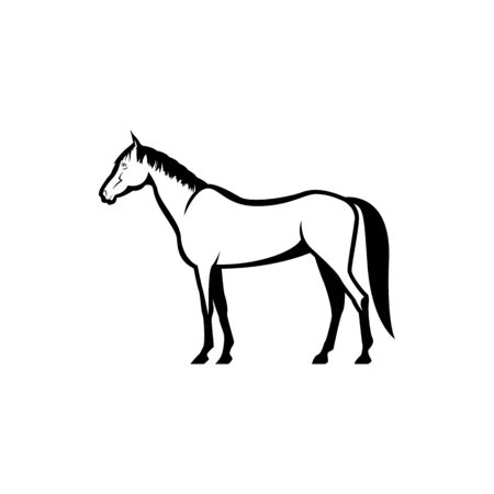 Vector horse silhouette view side for retro logos, emblems, badges, labels template vintage design element. Isolated on white background