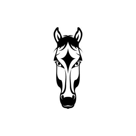 Vector horse head, face  for retro hipster logos, emblems, badges, labels template and t-shirt vintage design element. Isolated on white background 向量圖像