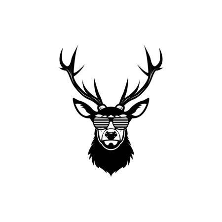 Tête de cerf de vecteur, visage pour logos hipster rétro, emblèmes, badges, modèle d'étiquettes et élément de design vintage de t-shirt. Isolé sur fond blanc