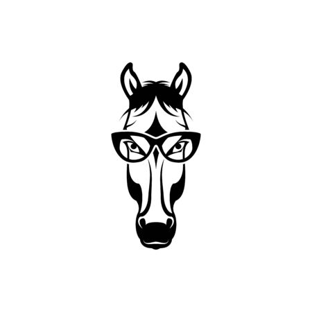 Vector horse head, face  for retro hipster logos, emblems, badges, labels template and t-shirt vintage design element. Isolated on white background Ilustração