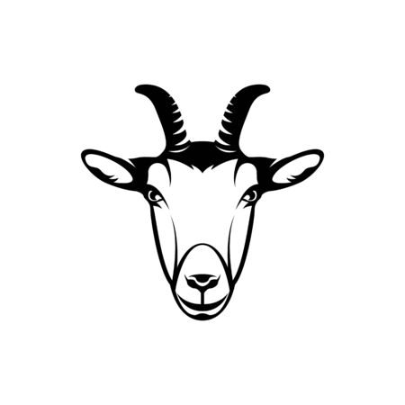 Vector goat head, face for retro hipster logos, emblems, badges, labels template and t-shirt vintage design element. Isolated on white background Logó
