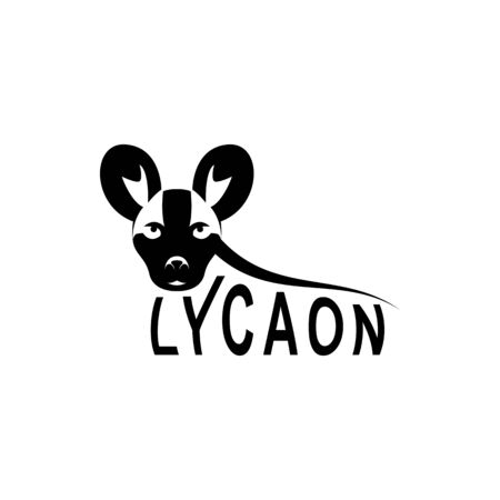 Vector lycaon head, face  for retro logos, emblems, badges, labels template and t-shirt vintage design element. Isolated on white background