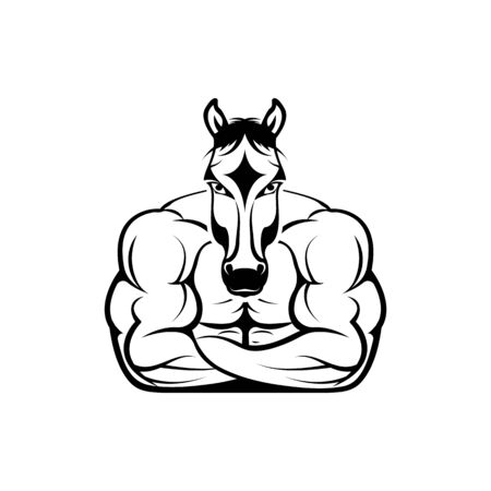 Vector fitness body with horse head, face  for retro logos, emblems, badges, labels template and t-shirt vintage design element. Isolated on white background 向量圖像