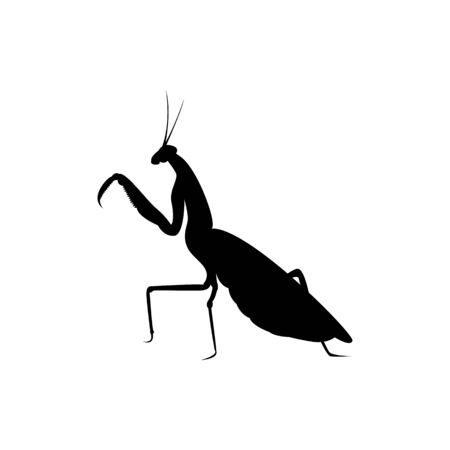 mantis silhouette. insect logo Vettoriali