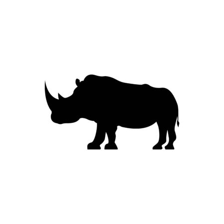Vector rhino silhouette view side for retro logos, emblems, badges, labels template vintage design element. Isolated on white background 向量圖像