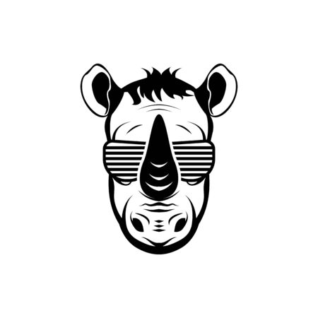 Vector rhino head, face  for retro logos, emblems, badges, labels template and t-shirt vintage design element. Isolated on white background