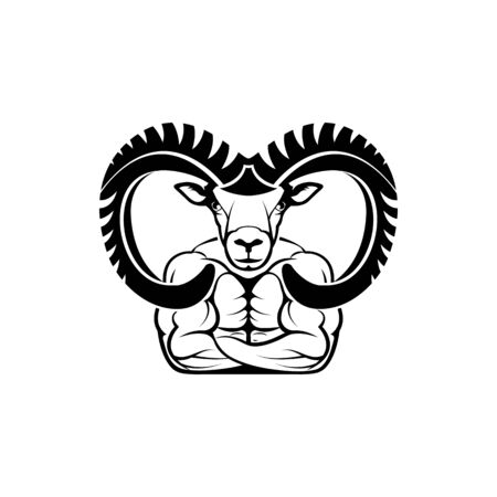 Vector fitness body with ram head, face  for retro logos, emblems, badges, labels template and t-shirt vintage design element. Isolated on white background Иллюстрация