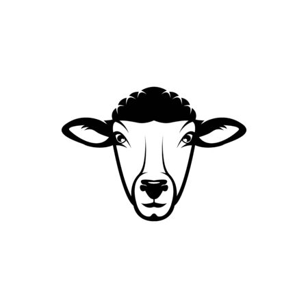 Vector sheep head, face  for retro logos, emblems, badges, labels template and t-shirt vintage design element. Isolated on white background Иллюстрация