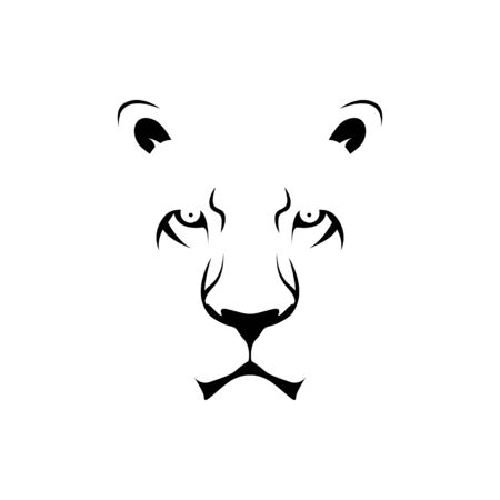 Vector lion head, face  for retro logos, emblems, badges, labels template and t-shirt vintage design element. Isolated on white background