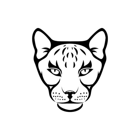 Vector cat head, face  for retro hipster logos, emblems, badges, labels template and t-shirt vintage design element. Isolated on white background Иллюстрация