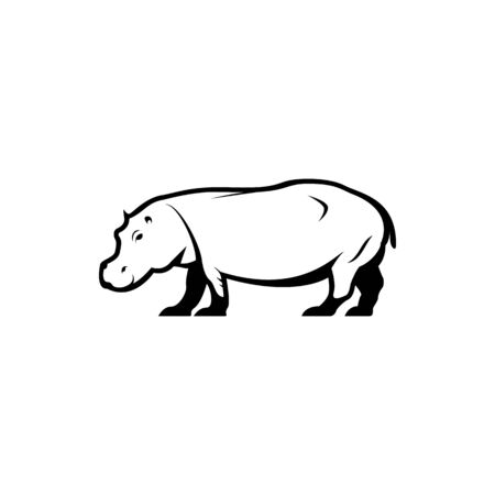 Vector hippo silhouette view side for retro logos, emblems, badges, labels template vintage design element. Isolated on white background