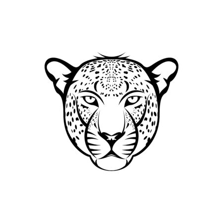 Vector leopard head, face  for retro logos, emblems, badges, labels template and t-shirt vintage design element. Isolated on white background Иллюстрация