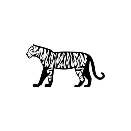 Vector tiger silhouette view side for retro logos, emblems, badges, labels template vintage design element. Isolated on white background