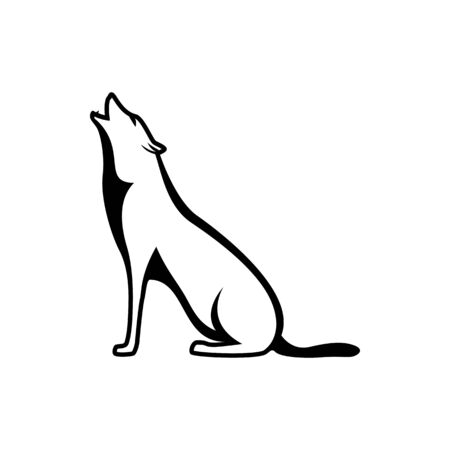 Vector wolf silhouette view side for retro logos, emblems, badges, labels template vintage design element. Isolated on white background