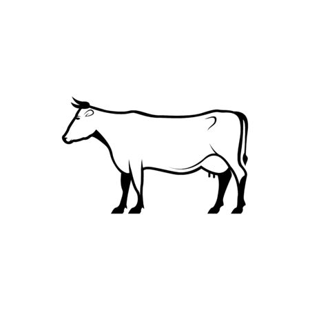 Vector cow silhouette view side for retro logos, emblems, badges, labels template vintage design element. Isolated on white background Иллюстрация