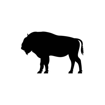 Vector bison silhouette view side for retro logos, emblems, badges, labels template vintage design element. Isolated on white background Иллюстрация