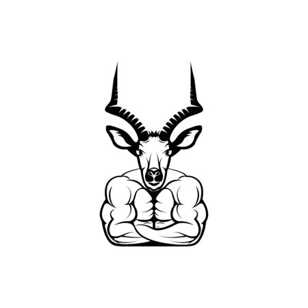 Vector fitness body with antelope head, face  for retro logos, emblems, badges, labels template and t-shirt vintage design element. Isolated on white background