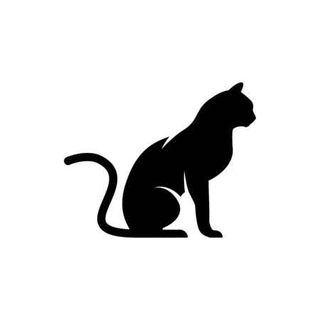 Vector cat silhouette view side for retro logos, emblems, badges, labels template vintage design element. Isolated on white background