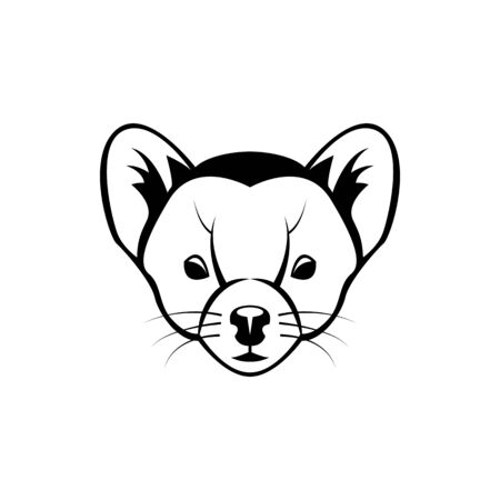 Vector marten head, face  for retro logos, emblems, badges, labels template and t-shirt vintage design element. Isolated on white background