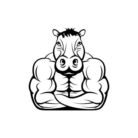 Vector fitness body with hippo head, face  for retro logos, emblems, badges, labels template and t-shirt vintage design element. Isolated on white background Иллюстрация