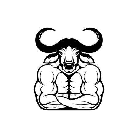Vector fitness body with african buffalo head, face  for retro logos, emblems, badges, labels template and t-shirt vintage design element. Isolated on white background