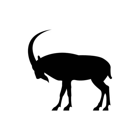 Vector goat silhouette view side for retro logos, emblems, badges, labels template vintage design element. Isolated on white background