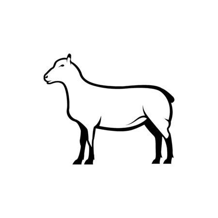 Vector sheep silhouette view side for retro logos, emblems, badges, labels template vintage design element. Isolated on white background Иллюстрация