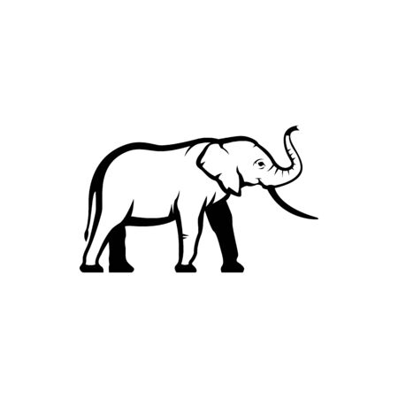 Vector elephant silhouette view side for retro logos, emblems, badges, labels template vintage design element. Isolated on white background