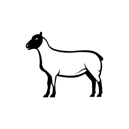 Vector sheep silhouette view side for retro logos, emblems, badges, labels template vintage design element. Isolated on white background Ilustração