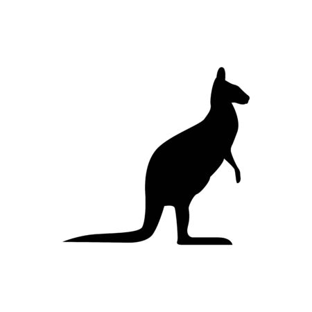 Vector kangaroo silhouette view side for retro logos, emblems, badges, labels template vintage design element. Isolated on white background Иллюстрация