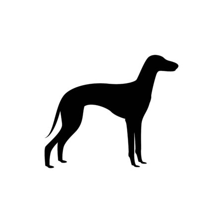 Vector dog silhouette view side for retro logos, emblems, badges, labels template vintage design element. Isolated on white background