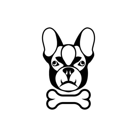 Vector dog head, face  for retro hipster logos, emblems, badges, labels template and t-shirt vintage design element. Isolated on white background