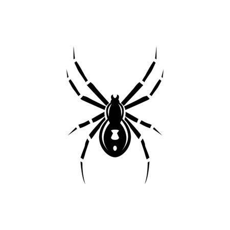 Black spider silhouette, close-up spider, scary big spider isolated on white, poisonous isect, arachnophobia background, spider vector icon Vectores