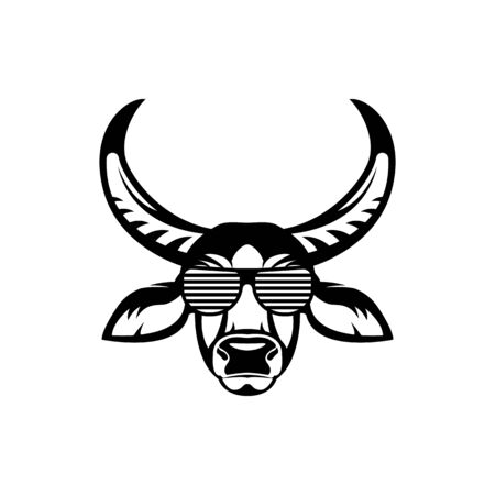 Vector asiatic buffalo head, face  for retro hipster logos, emblems, badges, labels template and t-shirt vintage design element. Isolated on white background