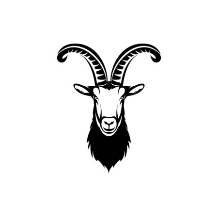 Vector goat head, face  for retro hipster logos, emblems, badges, labels template and t-shirt vintage design element. Isolated on white background