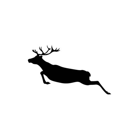 Vector reindeer silhouette view side for retro logos, emblems, badges, labels template vintage design element. Isolated on white background