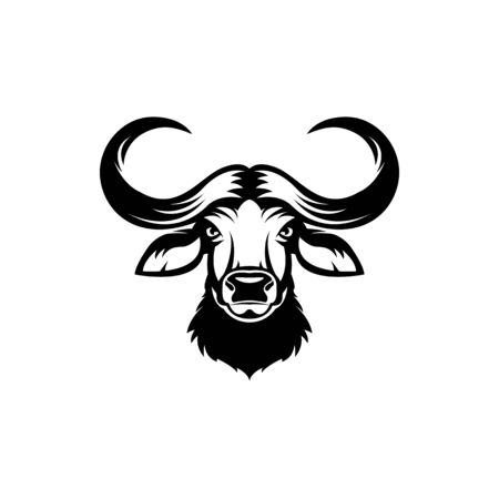 Vector african buffalo head, face  for retro hipster logos, emblems, badges, labels template and t-shirt vintage design element. Isolated on white background Иллюстрация