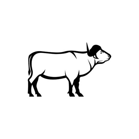 Vector african buffalo silhouette view side for retro logos, emblems, badges, labels template vintage design element. Isolated on white background