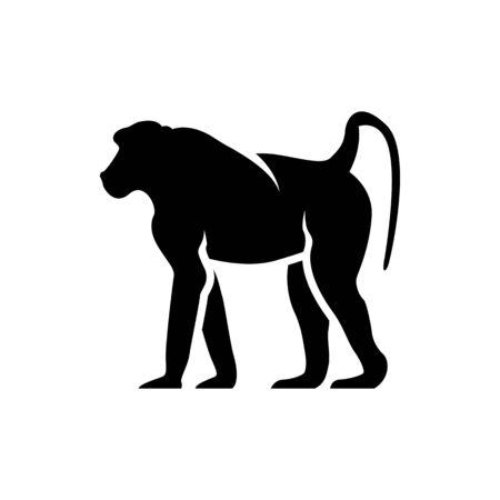 vector baboon silhouette Иллюстрация