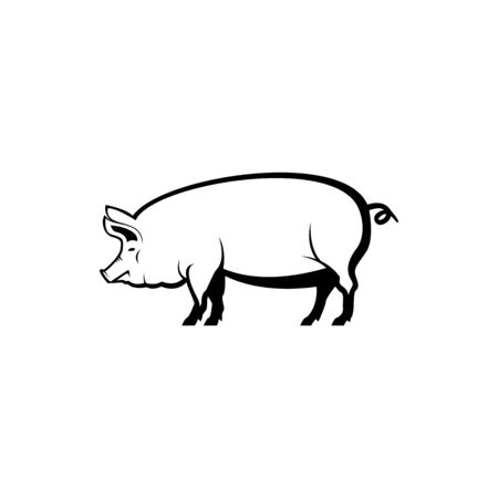 Vector pig silhouette view side for retro logos, emblems, badges, labels template vintage design element. Isolated on white background Иллюстрация