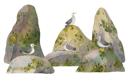 Cute watercolor lazy seagull relaxing on sea rocks and cliffs. Kawaii illustration for children prints.