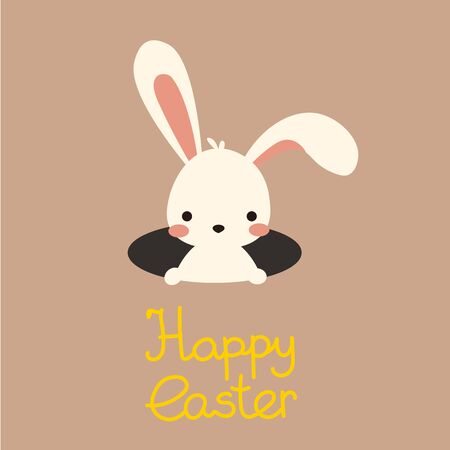 Cute vector easter bunny in hole with lettering