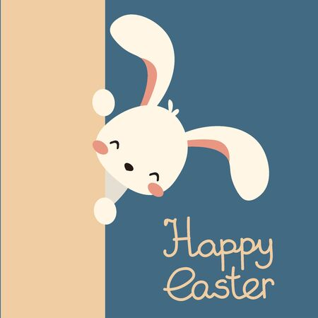 Cute, kawaii vector flat white easter bunny, rabbit peek out. look out. Happy easter lettering Ilustração