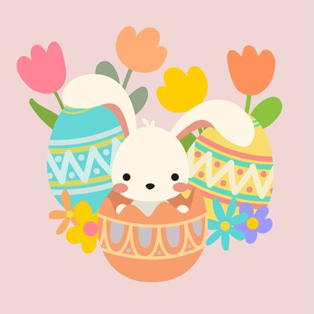 Cute kawaii cartoon flat vector easter white bunny, rabbit sit, hide in egg with ornamental decorative eggs and spring flowers