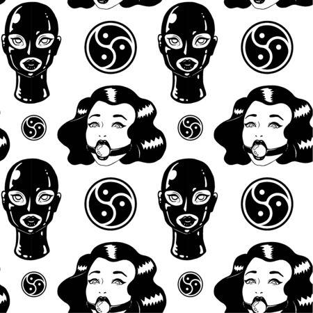 Black and white BDSM Vintage ink woman seamless pattern