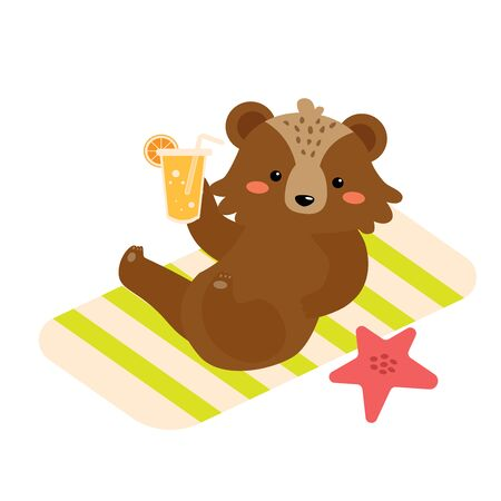 Vector flat cartoon cute brown bear sunbathe