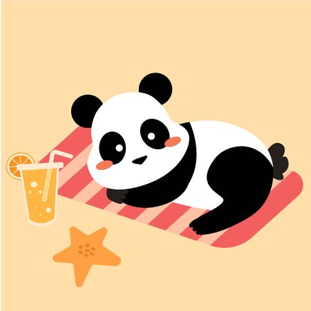 Vector flat cartoon cute kawaii chinese panda bear in summer vacation laying on striped towel with fresh tropic orange juice and red starfish. Sunbathe 向量圖像