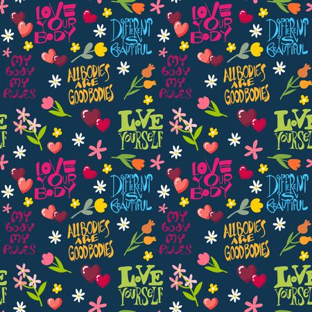 Body positive seamless pattern with inspired quotes, lettering