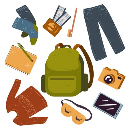 Vector set of things for backpacker, forest, mountain, tourist travel, vacation.