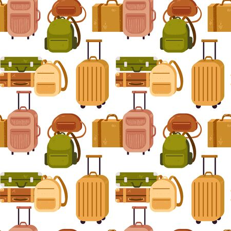 Seamless pattern with diversity baggage bags and backpack Illusztráció